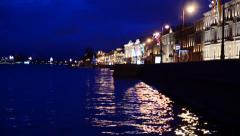 Night city river lights - stock footage