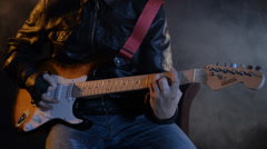 Rock guitarist playing guitar Stock Footage