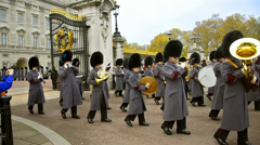 Marching bands at ceremony of changing the guards at backingham palace, london Stock Footage