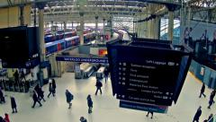 london, top view panning timelapse of commuters inside waterloo railway station - stock footage