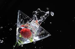 Strawberry martini splash Stock Photos