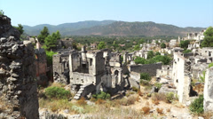 Ruins of ancient dead city kayakoy turkey Stock Footage