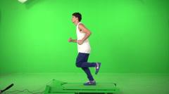 Green screen runer slow 200fps 1 Stock Footage