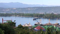 Shipping port in Manokwari Harbor Stock Footage