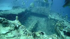 Shipwreck on ocean floor in Manokwari Harbor, West Papua Stock Footage