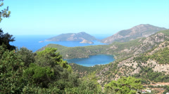 Panorama of blue lagoon and beach oludeniz turkey Stock Footage
