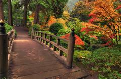 Bridge in autumn Stock Photos
