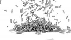 Silver Bars Falling Stock Footage