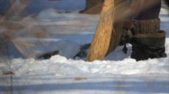 Sweep snow Stock Footage