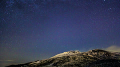 Milky Way above the volcano Etna. Time Lapse. 4K Stock Footage