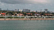 Stock Video Footage of Miami 010HD, Shoreline, Palm Island, MacArthur Causeway, Car Traffic