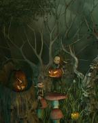 Spooky Goblin Halloween Forest Stock Illustration