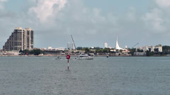 Miami 014HD, Boat in Front of MacArthur Causeway and Biscayne Island Stock Footage