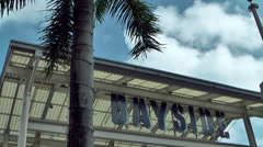 Miami 026HD, Entrance of Bayside Shopping Center with Palm Trees Stock Footage
