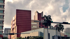 Miami 046HD, Biscayne Boulevard Crossing NE 5th Street, light Clouds Stock Footage