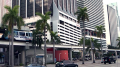 Miami 042HD, Highway One, Biscayne Boulevard, Traffic, Facades,  Metromover Stock Footage