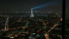 Eiffel Tower in Paris night lights view from rooftop of Montparnasse Tower Stock Footage