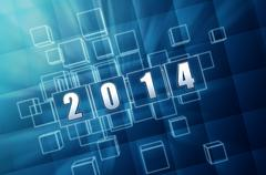 New year 2014 in blue glass blocks Stock Illustration