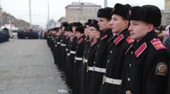 many cadets on parade - stock footage