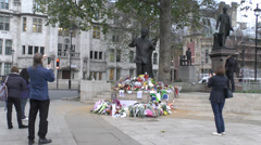Nelson Mandela statue, Parliament Square, London, UK. Stock Footage