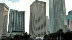 Miami 038HD, Skyscrapers of Downtown, Pan to a Fountain at Bayfront Park Stock Footage