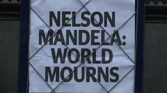 Nelson Mandela statue, Parliament Square, London, UK. Stock Footage