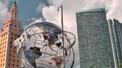 Miami 022HD, Freedom Tower, Globe and Skyscraper in one Line Stock Footage