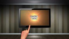 SHOW TIME Text in Monitor, Open with Hand Click Stock Footage