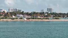 Miami 002HD Palm Island Shoreline with Cars seen from Port of Miami Stock Footage