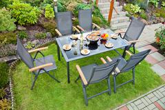 metal garden furniture - stock photo