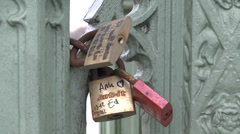 'Love Locks' on Westminster Bridge, London, UK. Stock Footage