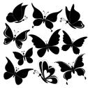 Stock Illustration of Butterflies, black silhouettes