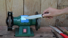 Hand grinder knife with electric tool and check sharpness Stock Footage