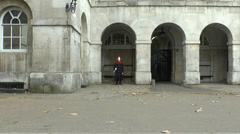 Guard outside Horse Guards Arch, Whitehall, London, UK. Stock Footage