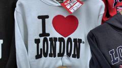 """I Love London"" sweatshirt on a tourist market stall, London, UK. Stock Footage"