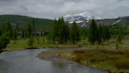 YELLOWSTONE PARK – MOUNTAIN AND RIVER (ZOOM OUT) Stock Footage