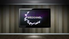 WEDDING Text in Monitor, Open with Hand Click Stock Footage