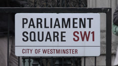 """""""Parliament Square"""" road sign ouside the Houses of Parliament, London, UK. Stock Footage"""
