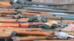 Machine guns and rifles Stock Footage
