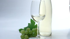 Green grape and white wine decorative arrangement - stock footage