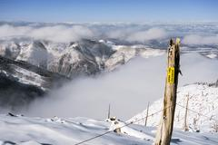 Ski area boundary Stock Photos