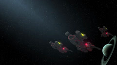 Stock Video Footage of Fleet of space ships