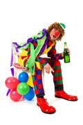 drinking clown - stock photo