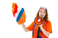 Girl is supporting the dutch Stock Photos