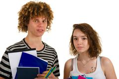 school boy and girl - stock photo