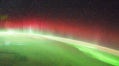Aurora Australis and Milky Way from International Space Station - stock footage