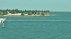 KeyWest 002HD, white Yacht is passing the Bay Stock Footage
