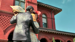 KeyWest 017HD, Colonial Style, Figures in Front of Museum of Art & History - stock footage