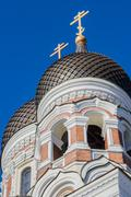 two domes of the aleksandr nevsky cathedral in tallinn - stock photo
