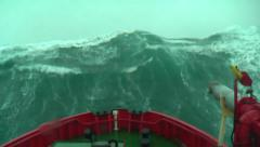 Huge Wave Hits Ship Stock Footage